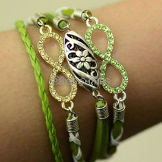 grass green bracelet, infinity charm with rhinestones hollow flower bead,wedding gift,gift from HolidayDIY on Etsy. Beaded Jewelry, Silver Jewelry, Beaded Bracelets, Diy Bracelet, Bangles, Silver Necklaces, Silver Ring, Pakistani Bridal Jewelry, Infinity Charm