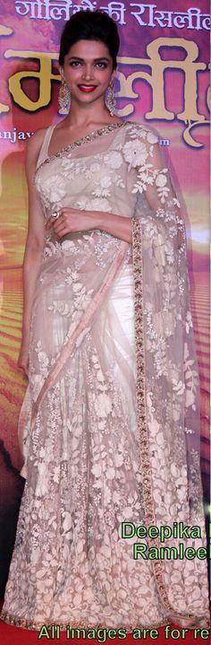 USD 56.29 Deepika Padukone Ramleela White Saree 34781