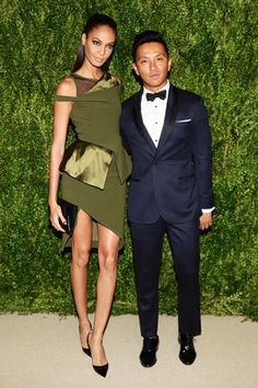 Joan Smalls, in Prabal Gurung, with the designer, wearing Public School.