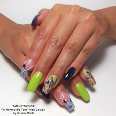 Tammy Taylor A Mermaid's Tale Nail Design by Gisela Marti, Creative Director at Tammy Taylor Nails! Find out how to do these nails by going onto Tammy Taylor Nails Pinterest page and looking under Nail Tutorials!  tammytaylornails.com