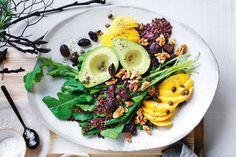 Mango, avocado, and black lentil salad
