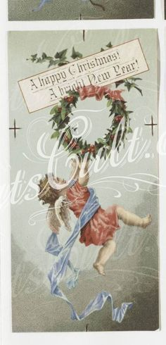 4-Christmas and New Year cards depicting cherubs and angels. .106285      ...