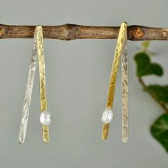 Mixed metals earrings, brass earrings, hammered studs, pearl gold studs, unique long studs, line earrings, Christmas gift for mom, minimal by ColorLatinoJewelry on Etsy