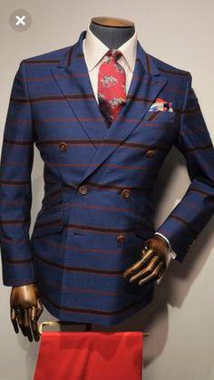 Sharp Dressed Man, Well Dressed Men, Mens Fashion Suits, Mens Suits, Blue Pinstripe Suit, Plaid Suit, Men Looks, Shirt Jacket, Men Dress