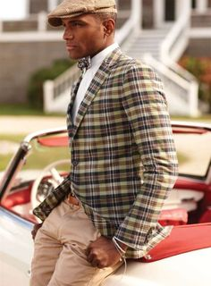 Love the plaid jacket with bow tie and cap. adorable preppie