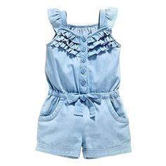 OWIKAR Baby Girls Rompers Lace Denim Vest Shorts Boat Neck Summer Dress For Age 1-6 (2T-3T)