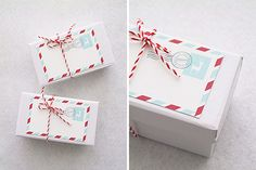 Holiday Mail Stripes Gift Tags: Instead of topping off your presents with an extravagant DIY, let an oversized gift tag do all the work. This holiday mail printable is a great option. Gift Packaging, Gift Tags, Wraps, Presents, Gift Wrapping, Holiday, Christmas Ideas, Diy, Gifts