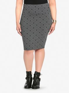 Soft, stretchy and oh-so-versatile, this jersey knit skirt goes from classic pencil to sexy mini with a fold of the wide waistband. In a fun skull and polka dot print, this grey and black stylish skirt will be a fashion favorite all season long.