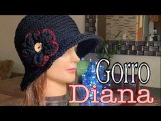 Gorro Diana -a crochet- - YouTube Crochet Summer Hats, Crochet Hats, Crochet Designs, Crochet Patterns, Sombrero A Crochet, Dorset Buttons, Diana, Stitch, Knitting