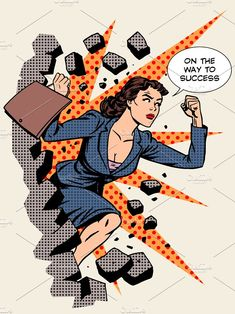 Business success businesswoman breaks the wall. Retro style pop art Set contains: - one JPG file pixels - one file Canvas Artwork, Wall Canvas, Canvas Prints, Wall Art, Woman Illustration, Graphic Illustration, Foto Pop Art, Desenho Pop Art, Break Wall