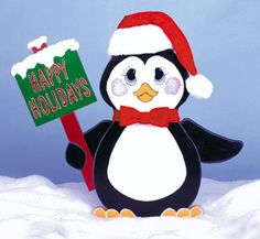 Christmas Penguin With Happy Holidays Sign Wood Outdoor Yard Art, Christmas Lawn…