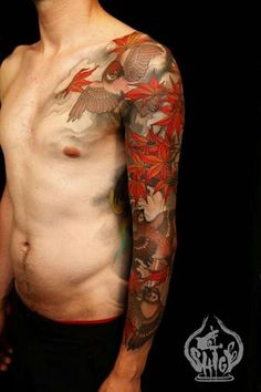Sweet sleeve by Shige. This artist has a way with color and give's his art seasonal feeling and meaning. | Bird Tattoos | Love Birds Tattoo