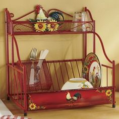 Sunflower and rooster red shelf