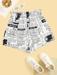 To find out about the Plus Newspaper Print Frill Waist Shorts at SHEIN, part of our latest Plus Size Shorts ready to shop online today! Teen Fashion Outfits, Casual Outfits, Cute Outfits, Fasion, Plus Size Womens Clothing, Plus Size Fashion, Clothes For Women, Newspaper Printing, Stylish Clothes