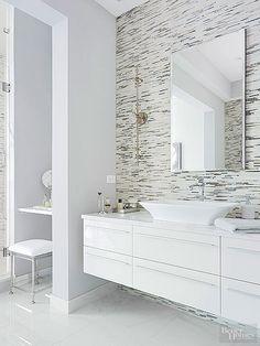 White master bathroom with floating vanity, tile wall | Master Bathroom Design Ideas | #masterbathroom #bathroomideas #tilewall
