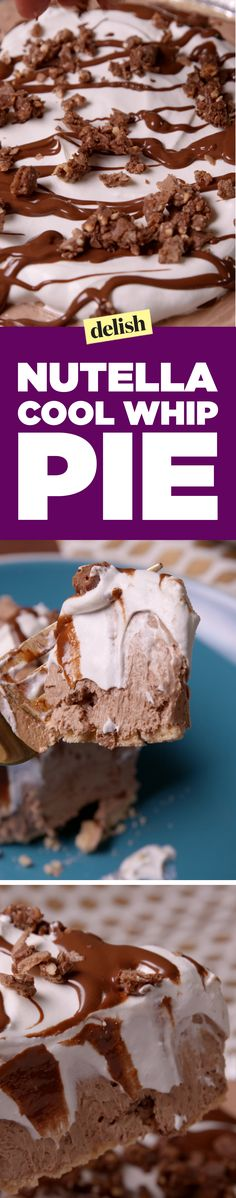Nutella Cool Whip pie has a secret ingredient you'll flip over. Get the recipe on Delish.com.