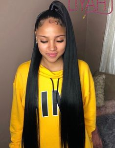 in Braids half up half down Hair Ponytail Styles, Weave Ponytail Hairstyles, Sleek Ponytail, Baddie Hairstyles, My Hairstyle, Black Girls Hairstyles, Straight Hairstyles, Curly Hair Styles, Natural Hair Styles