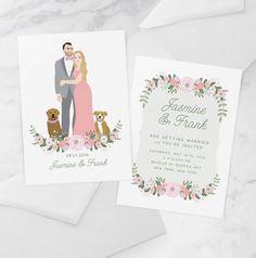 Boho Portrait Wedding Invitation with Couple by MissDesignBerryInc