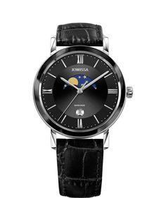 This Swiss-made men's watch is the perfect gift for your boyfriend or husband. It's a robust timepiece that shows the current phase of the moon on a black sunray dial. There is also a date window for extra detail. The sizeable 40mm diameter, silver indices and robust crystal enhance the look. A smart finish is achieved by the soft and sleek black crocodile leather strap. #Swissmade #Jowissa #blackwatch #menswatch Swiss Made Watches, Gifts For Your Boyfriend, Casual Watches, Luxury Watches For Men, Stainless Steel Case, Crocodile, Diamond Cuts, Bar, Watch Fan