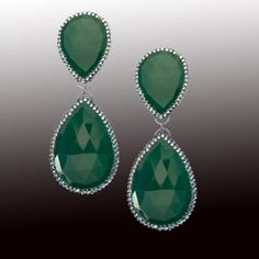 Roni Blanshay Large double teardrop green onyx earrings with Swarovski crystals at London Jewelers!