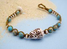 RARE Flea cone and gemstone bracelet  Hawaii shell by HayleySommer, $18.00