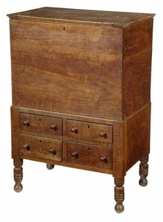 """Maple Sugar Chest signed and dated by Elmore W. Williams, Davidson County, Tennessee, 1840, highly figured """"fiddleback"""" maple throughout, poplar secondary, box interior with original divider and lock over four dovetailed drawers and turned legs, 40-1/2 x 27-3/4 x 17-1/2 in"""