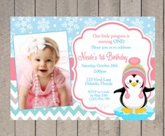 Winter Birthday Invitation - Snowflakes, Coral, Blue, Girl Penguin, First, Second, 1st, 2nd, 3rd, 4th, With Photo, Winter Onederland - 263 on Etsy, $13.00