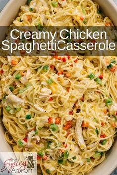 """This Chicken Spaghetti Casserole is the answer to """"what's for dinner?"""" Easy weeknight meal for those who want real comfort food or a casserole for a crowd. Eat right away or make ahead and freeze. dinner for a crowd Chicken Spaghetti Casserole Chicken Spaghetti Casserole, Chicken Spaghetti Recipes, Easy Chicken Recipes, Easy Dinner Recipes, Easy Weeknight Meals, Easy Meals, Huhn Spaghetti, Easy Casserole Recipes, Chicken Casserole"""