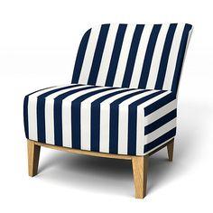 Stockholm, Sesselbezüge, Regular Fit - kleiner Sessel diesen Stoff anwenden Stockholm Stripe Deep Navy Blue