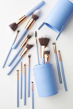 Luxie Dreamcatcher Brush Set by in Purple Size: All, Makeup at Anthropologie – Beauty Make up Styles Stippling Brush, Highlighter Brush, Concealer Brush, Eyeliner Brush, Eye Makeup Brush Set, Makeup Brush Holders, Cute Makeup, Makeup Collection, Makeup Products