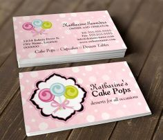 Cake Pops Bakery Business Cards This Great Card Design Is Available For Customization All