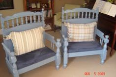 Benches made from cribs and headboards Reclaimed Furniture, Refurbished Furniture, Repurposed Furniture, Furniture Makeover, Home Furniture, Furniture Ideas, Furniture Vintage, Furniture Online, Industrial Furniture