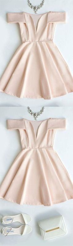 pink short cute prom dress, pink homecoming dress, simple bridesmaid dress