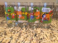 Vintage McDonald's Camp Snoopy No Excuse Lucy Glass Peanuts 4QTY | eBay