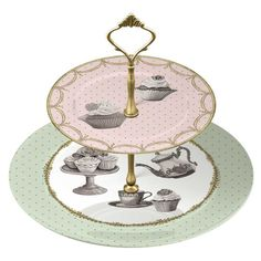 Katie Alice Cupcake Couture 2-Tiered Srrving Tray