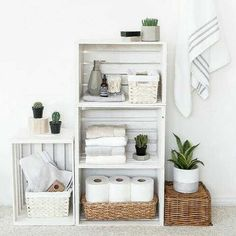 Make your own crate shelves to organize all of your bathroom essentials. Find the tutorial at craftgawker.com/insta by @thebeautydojo