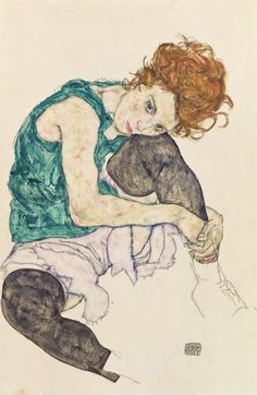 'Sitzende Frau mit gebeugtem Knie' von Egon Schiele bei artflakes.com als Poster oder Kunstdruck $18.48
