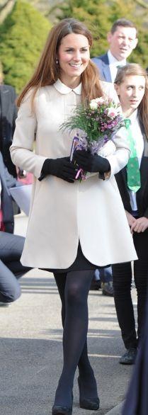 Who made Kate Middleton's black collar dress and pink coat? Dress – Topshop  Coat – Goat