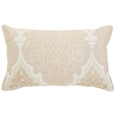$34.95 Natural Embroidered Damask Pillow