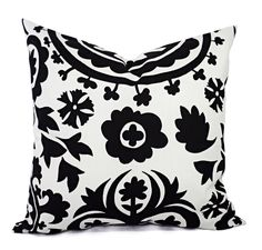 Black and White Suzani Pillow Cover - Modern Black Pillow Cover - Custom Pillows. One throw pillow cover in Premier Prints Black Suzani. The decorative pillow sham is black and white on 100% cotton fabric in a large suzani print. This listing is for pillow cover/s only. You can find the inserts at most home goods stores or craft stores. All covers are made to order, and production time is 4-7 business days. Pattern placement will vary. Finished size will be approx. 1/2″ smaller for a snug...