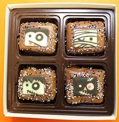 Chocolate Dipped Rice Krispie® Treat Gift Box for Halloween - http://mygourmetgifts.com/chocolate-dipped-rice-krispie-treat-gift-box-for-halloween/