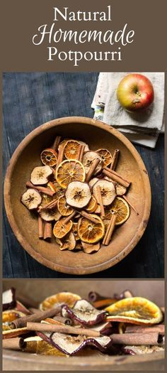 Homemade Potpourri Made With Natural Apples, Oranges and Cinnamon Homemade potpourri made with natural apples, orange slices and cinnamon sticks is a great way to bring a little beautiful and fragrance to your home. Homemade Potpourri, Simmering Potpourri, Potpourri Recipes, Homemade Gifts, Dried Orange Slices, Dried Oranges, Dried Fruit, Noel Christmas, Gift Ideas