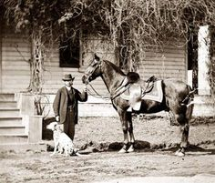 Rufus Ingalls, his dalmation coach dog, horse at Appomattox Manor, City Point. Civil War era.