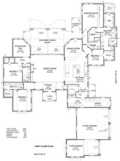 The house has an oversize 907-square-foot 3-car garage located at the right front of the house with side entrance and a separate third bay that can be transformed into a workshop and/or used for storage if desired. #houseplan #workshop