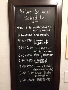 After School Schedule on chalkboard in homework room. The post After School Schedule on chalkboard in homework room. After School Schedule, Kids Schedule, Family Schedule Board, Before School Routine, Chore Chart Kids, Family Chore Charts, Organisation Hacks, Back To School Organization, Kids Clothes Organization