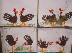Turkey art for kids to do Turkey Handprint, Handprint Art, Thanksgiving Crafts For Kids, Holiday Crafts, Thanksgiving Cards, Farm 2017, Chicken Crafts, Chicken Art, Farm Crafts