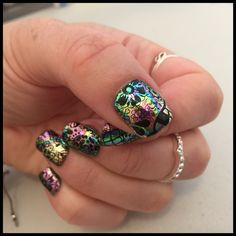 Bio Sculpture gel nails with foil and sugar skull stamping
