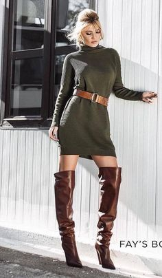 Thigh High Boots, Over The Knee Boots, Suits For Women, Sexy Women, Brown Boots Outfit, Boots Beauty, Long Boots, Sexy Boots, Two Piece Outfit