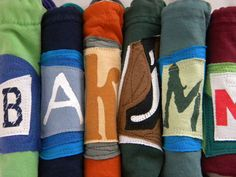 Custom Initial Pouches upcycled repurposed 100% from tee shirt materials and fonts!