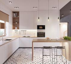 modele de cuisine en l blanche et bois, plan de travail bois et carrelage et meubles blancs, carrelage sol mosaique graphique, table en bois et chaises en metal